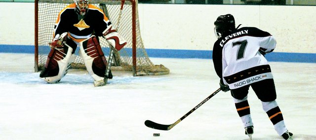The Craig Puck Ewes' Lani Cleverly takes a shot on goal during a game against Vail Twin Peaks in November.