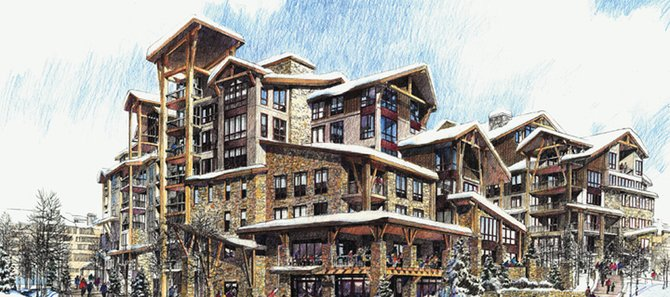 An artist&#39;s rendering gives an idea of scale for the proposed redevelopment of Thunderhead Lodge. The Steamboat Springs City Council is set to vote on the project at its meeting today.