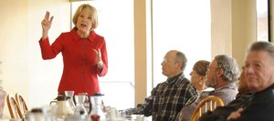 Jane Norton, Republican candidate for U.S. Senate, speaks during a breakfast meet and greet Saturday at the Egg &amp; I Restaurant.