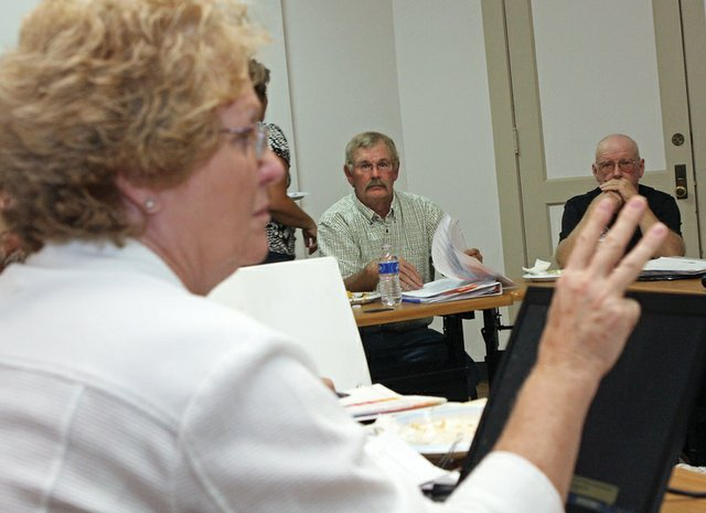 Moffat County Commissioner Audrey Danner speaks during a work session Tuesday night about lease negotiations concerning the Craig Police Department's renting of space in the Moffat County Public Safety Center. The original lease, which provided the police department with free rent, expires in August 2011.