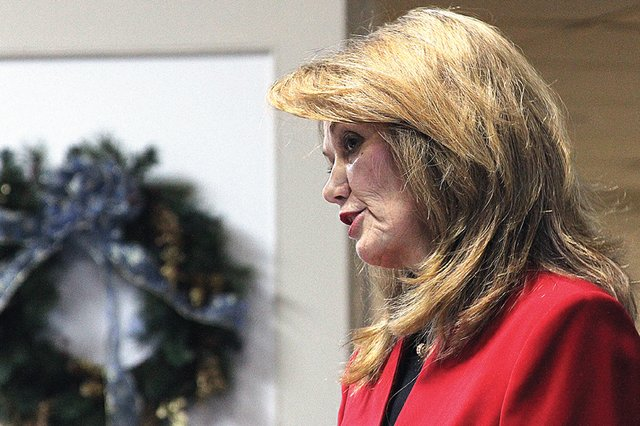 Jean White speaks Monday at the Moffat County Courthouse during her speech detailing why she should be chosen to replace her husband, Al White, in the state senate. Jean was appointed to the seat and will serve the remaining two years of White's term.
