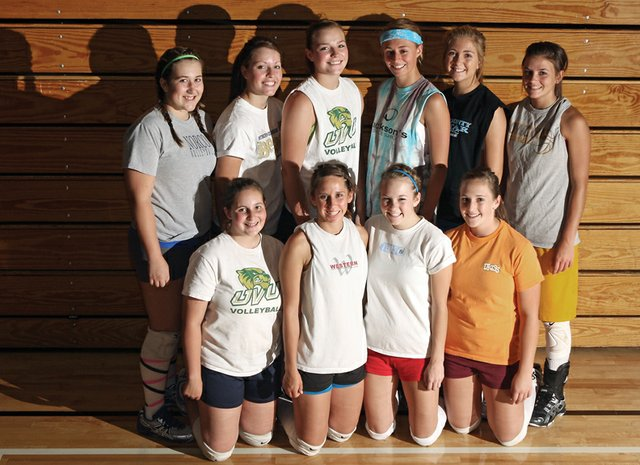 The Moffat County High School volleyball team is coming off a 9-14 season, but players are optimistic they can regroup and rebuild this season and have a winning record. The team is, back row from left, Morgan Knob, Adrie Camp, Annie Sadvar, Lauren Roberts, Makayla Camilletti and Melissa Camilletti. In the front row from left is Chanda Walker, Kelley Syvertson, Jordan Field and Jessica Matthews.