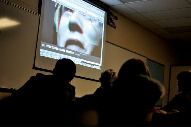 Moffat County High School students watch a Colorado Meth Project anti-drug campaign video Thursday morning in their first-hour lifetime health and fitness class at the high school. The Colorado Meth Project collaborated with the Boys &amp; Girls Club of Craig to offer presentations and events this week in Craig during the Not Even Once drug prevention campaign.