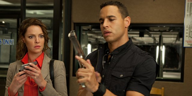 "Stephanie Plum (Katherine Heigl) learns the ins and outs of gun ownership in ""One for the Money."" The movie is about an unemployed lingerie saleswoman who gets a job tracking down criminals, including her ex-boyfriend, for her bail bondsman cousin."