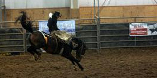 A bronc rider spurs out of the chute during an event sponsored by the Rocky Mountain Bronc Riders Association based in Encampment, Wyo. The association is working with local residents to bring June 9 a bronc riding competition to the Moffat County Fairgrounds.