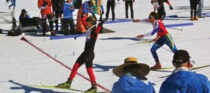 Steamboat Springs skier Max Scrimgeour crosses the finish line to win the J1 men's relay race at Sunday's Junior Nationals Championship at Soldier Hollow in Utah.