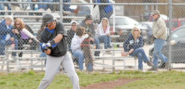 Carlos Maldonado, a Moffat County High School senior, had three hits and two RBIs on Saturday in the Montrose Tournament to help lead the MCHS varsity baseball team to a 1-1 record on the day. Head coach Justin Folley said the Bulldogs made improvements at the plate Saturday, but still need to work on being more aggressive on first pitches.