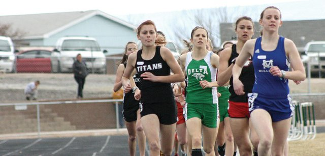 Eryn Leonard, a Moffat County High School junior, leads a pack of girls during the 800-meter run Saturday at the Delta Invitational. Leonard finished seventh to help lead the girls team to a 16th-place finish overall and the boys team finished fifth out of 20 teams.