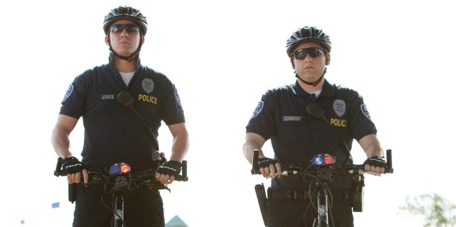 "Partners Greg Jenko (Channing Tatum), left, and Morton Schmidt (Jonah Hill), take on their first assignment on the police force in ""21 Jump Street."" The movie is a comedy inspired by the 1980s TV show about young undercover cops attending high school."