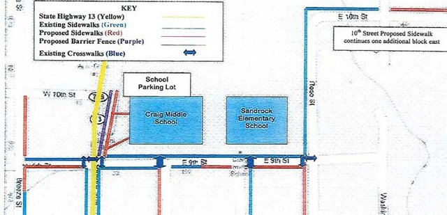 This map provided by Craig City Manager Jim Ferree shows proposed and existing sidewalks near Craig Middle School and Sandrock Elementary School. The city has earmarked a $188,905 Safe Routes to School Grant, offered by the Colorado Department of Transportation, to pay for new sidewalk construction.