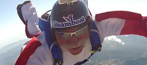 Joe Pete LoRusso proudly wears a Steamboat decal on his helmet while practicing for a world record skydiving formation this month above Lake Elsinore, Calif.