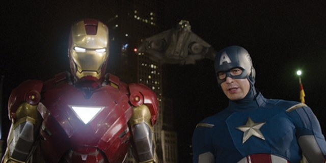 "Superheroes Iron Man (Robert Downey, Jr.), left, and Captain America (Chris Evans) head out for a mission in ""The Avengers."" The movie is a compendium of Marvel Comics characters, including Thor, the Incredible Hulk, Nick Fury and more as they face a threat to the planet"