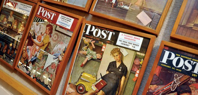 A sampling from a collection of all 323 Saturday Evening Post front-page tear sheets featuring the work of Norman Rockwell hangs in the Museum of Northwest Colorado. The exhibit, the most expensive the museum has ever offered, opens Monday. Admission is free.