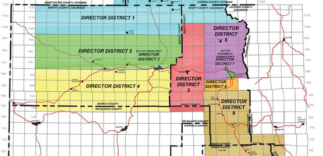 This map provided by Yampa Valley Electric Association shows the company's board of director districts. The company is seeking director candidates for districts 1 and 5. Letters of interest and resumes are due by 5 p.m. July 9 to the company's office at 32 10th St., Steamboat Springs.