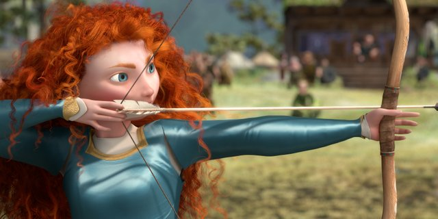 Merida (voice of Kelly Macdonald) draws back her bowstring to prove her mettle in Brave. The movie is the 13th feature from animation studio Pixar, and focuses on a Scottish princess who longs for freedom instead of the life her parents have planned for her.