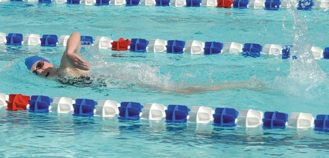 Eryn Leonard, 17, swims freestyle over the weekend at the Craig ABC Open. Leonard, who will be a senior at Moffat County High School, won eight events for the Craig Sea Sharks, who hosted the meet at the Craig Swimming Complex, 605 Washington St. 