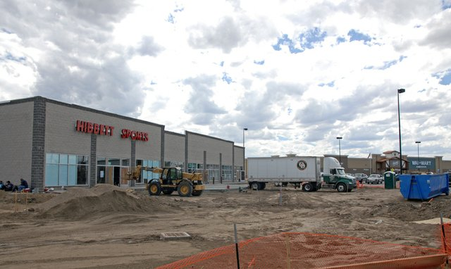 Construction crews recently installed the Hibbett Sports marquee at the Tebo Center, located in the Walmart subdivision. The new development, which will house Birmingham, Ala.-based Hibbett Sports, Maurices women's clothing store, and a third tenant to be named later, is scheduled to open next month.