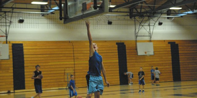 Incoming Moffat County High School sophomore Matt Hamilton goes up for a layup at a youth camp the team hosted in June. The Bulldogs closed out summer play at a team camp July 9 through 12 at Colorado Mesa University in Grand Junction.
