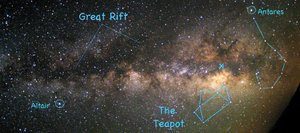 Follow the hazy band of the summer Milky Way toward the south to find the Teapot asterism of Sagittarius the Archer during the early evening this month. Sagittarius is located in a region rich in star clusters and colorful nebulae and is a delight to view with binoculars.