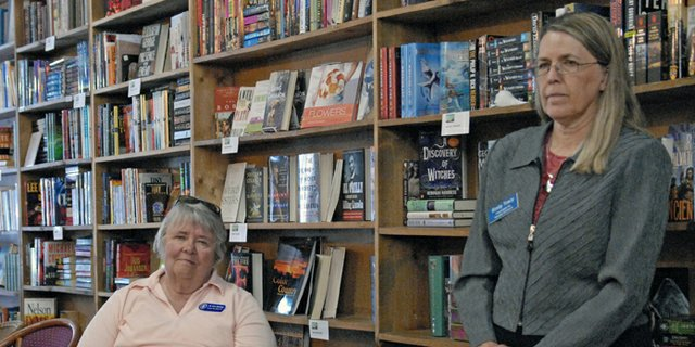 Emily Tracy, right, the Democratic candidate for Colorado Senate District 8, and Jo Ann Baxter, seated, the Democratic candidate for Colorado House District 57, hosted a candidate forum Thursday at Downtown Books in Craig.