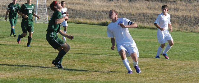 Senior Bryant Cox looks to control the ball at a Moffat County boys soccer game earlier this season at Loudy-Simpson Park. The boys soccer team beat Vail Mountain over the weekend, 2-1, and play their homecoming game Thursday at Loudy-Simpson Park.