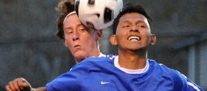 Steamboat's Hanson Buchner and Moffat County's Alex Perez battle for a ball Thursday. Steamboat won the game, 4-1.