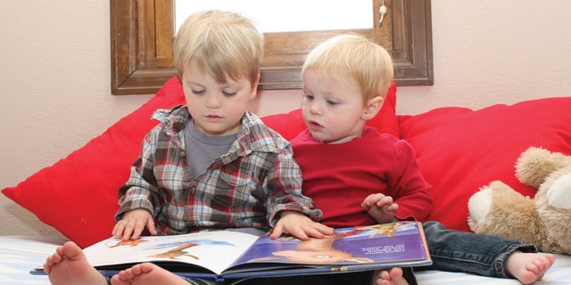 Ryun Pressgrove, 3, left, and his brother, Jonas Pressgrove, 1-1/2, of Craig, read Llama Llama Red Pajama October 26 at their home. The book is one of many included in Dolly Partons Imagination Library program, which launches in Moffat and Rio Blanco counties in November. The program, presented locally by Moffat County Youth United Way and Connections 4 Kids, mails a free book to each registered child each month until age 5.