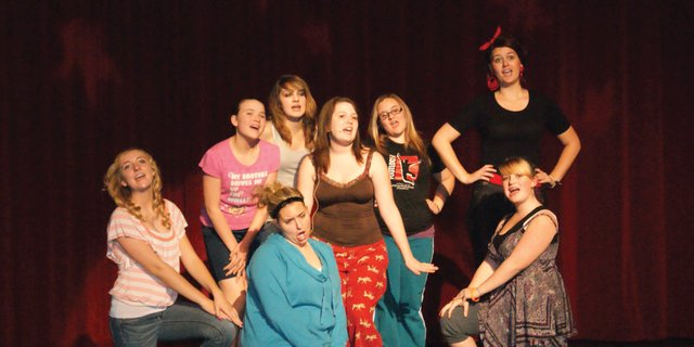 Moffat County High School students run through a dress rehearsal for the fall musical, Guys and Dolls, Thursday evening. The play is set to run at the end of next week. 