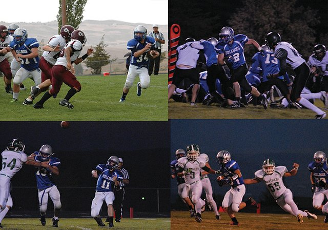 Clockwise from top left: Moffat County High School football players Josh Pritchard, Michael Samuelson, Garrett Stewart and Bubba Ivers were given Western Slope League honors for their play this football season. Samuelson, Stewart and Ivers were All-WSL, while Pritchard was honorable mention. All four are seniors.