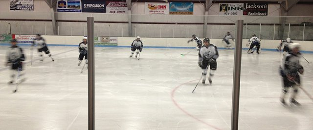 Members of the midget Craig hockey team skate to warm up for a game earlier in November. The 14-18 age group of players in Craig have already played several games in the season in the Colorado Competitive Youth Hockey League.