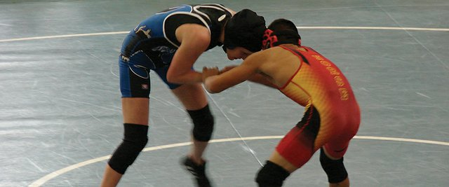 Moffat County wrestler Ashlee Griffiths grapples with an opponent from Northglenn High School during the team's weekend of duals at Grand Junction High School. They came away from it with a 3-2 record, making the Bulldogs 5-5 in duals on the season.