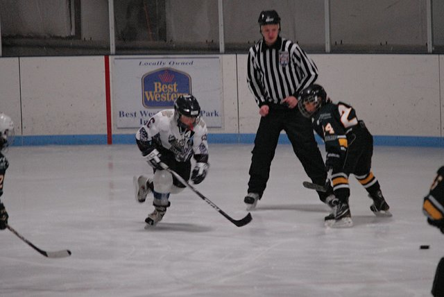 Joseph Neal chases after the puck following a faceoff during a Craig Squirt hockey game vs. Aspen Sunday at the Moffat County Ice Rink. The Bulldogs went 2-2 on the weekend, but lost this game vs. Aspen 6-3.