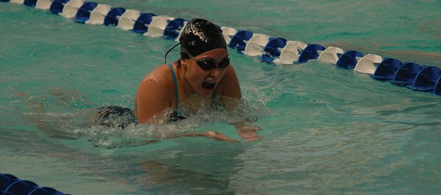 Marlee Chacon swims at the Moffat County High School home meet earlier this season in Craig. Chacon and the Bulldogs head to the Western Slope League Championships Friday and Saturday in Grand Junction.