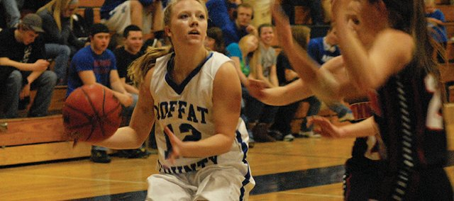 Sassy Murray looks to beat two Gunnison defenders on a fast break Saturday in Craig. Moffat County&#39;s girls varsity team beat the Cowboys 45-27 on the strength of big runs in the second and third quarter. They are 10-1 and still in first place in the Western Slope League.