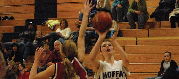 Moffat County's Katia Voloshin puts up a shot with a Steamboat Springs defender closing out on her. The freshman girls team won Tuesday in Craig, 52-15.