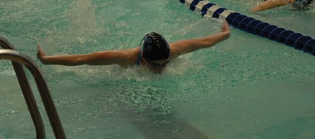 Eryn Leonard swims into the final turn of the 100-yard butterfly at Moffat County High School earlier this season. Leonard will swim the 100-fly and 50-yard freestyle at the state meet this Saturday, with hopes of qualifying for the finals in both.