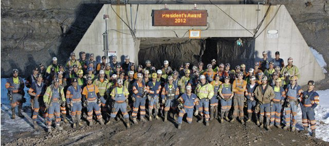 Employees of Twentymile Mine stand in front of the underground operation&#39;s new entry portal. This week, executives from Peabody Energy presented Twentymile with the 2012 President&#39;s Safety Award. 
