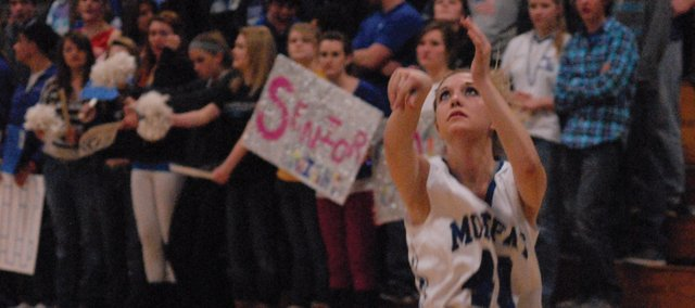 Makayla Camilletti watches her three-pointer as it travels to the basket. The senior buried this shot and led Moffat County with 16 points in its 61-47 win over Coal Ridge Friday in Craig.