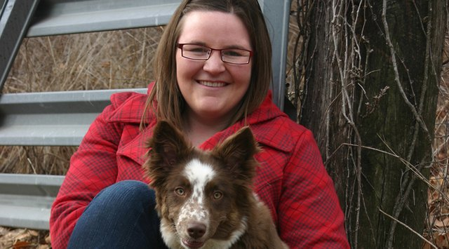 Kaycee Stagner, 23, of Craig, sits with her dog Annie Oakley. Stagner is a Moffat County High School graduate and University of Wyoming graduate, and is currently at veterinary school at Oklahoma State.