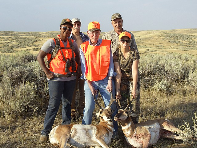 U.S. Navy veterans Elmer Beights and Sydney Medina hold up their pronghorn antelope bucks harvested during their participation in the Veterans Hunt Program through the Grand Junction Veterans Health Care System. The pair of former soldiers traveled to Northwest Colorado in August to hunt on the Bord Gulch Ranch property, with many other Moffat County individuals, groups and businesses pitching in to give the vets a good time as a means of recreation therapy.