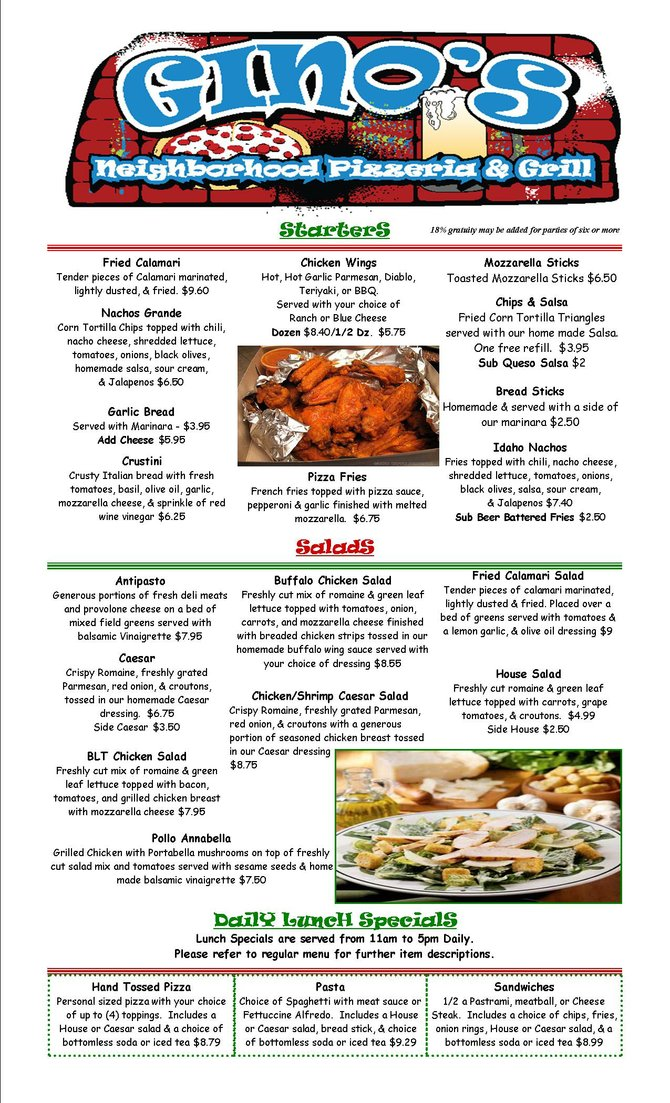 Appetizers, Salads & Specials Fall/Winter
