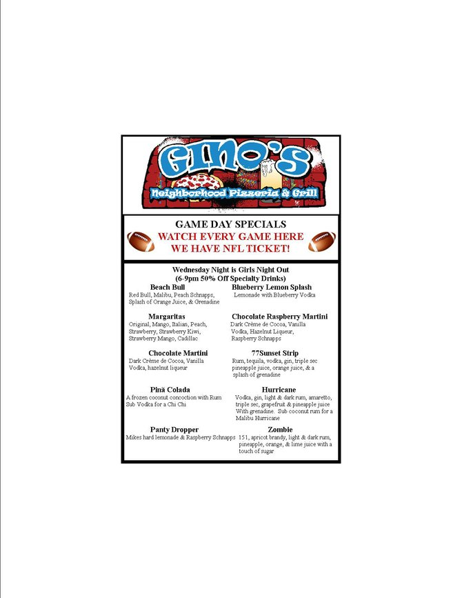NFL Ticket Game Day Drink Specials