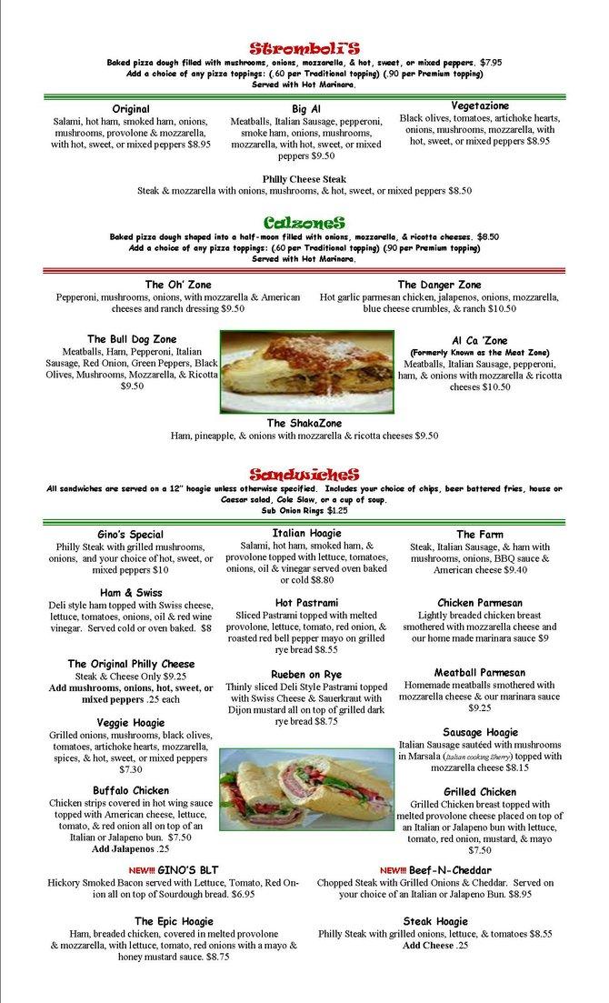 Calzones, Stromboli's & Sandwiches