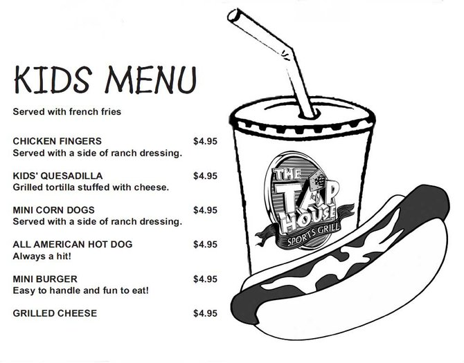 Kids Menu at The Tap House
