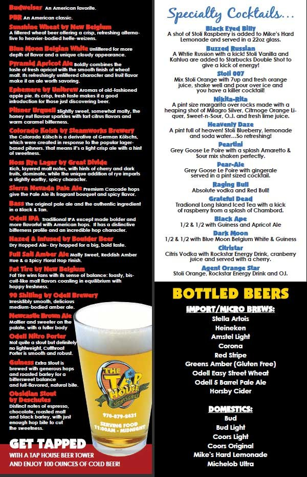 Beer and Other Drinks at The Tap House