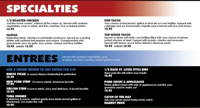 Specialties and Entrees at the Tap House