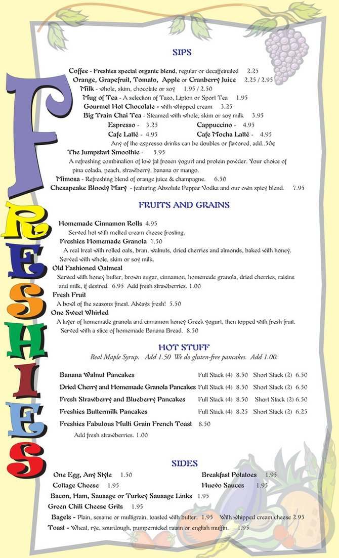 Breakfast Menu, Page 1