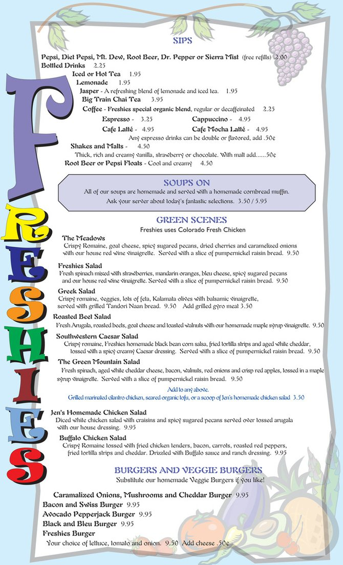Lunch Menu, Page 1
