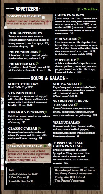 Old Town Pub Appetizer, Soup &amp; Salad Menu