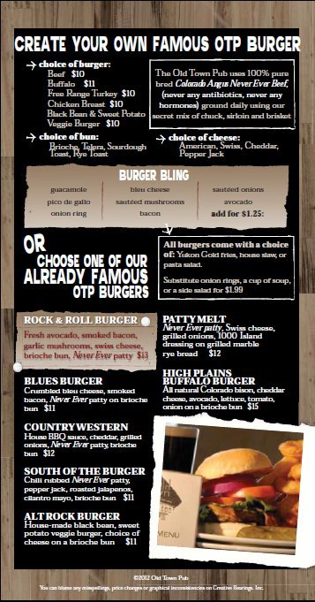Old Town Pub Famous Burger Menu